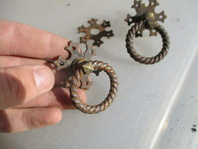 Antique Drawer Pulls Handles Gothic Iron & Brass Twisted Loop Vintage Pair Old