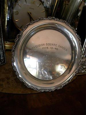 Tiffany & Co Makers Sterling Silver Great Dane Dog Trophy Plate Madison Sq 1946