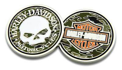 Harley-Davidson Willie G Skull Bar & Shield Camo Challenge Coin, 1.75 in 8005085