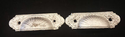 2 Matching DRAWER PULLS EMBOSSED CAST IRON  VICTORIAN STYLE