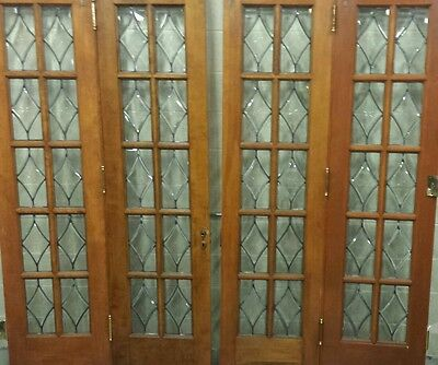 Set Of Antique Bevel Glass Bi- Fold Doors