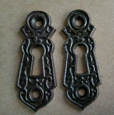 Pair Decorative Vintage Victorian  Key Hole Covers  Cast Iron (#143)