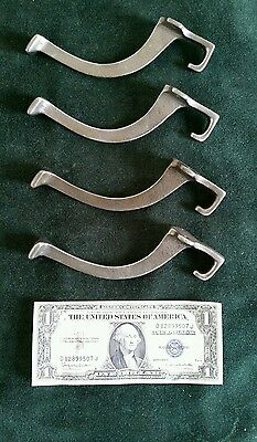 4 matching old vintage  mission style cast iron hall tree hooks restored