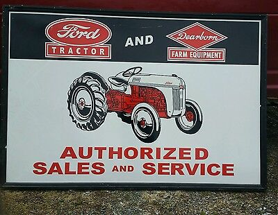 Large Embossed Metal Ford Tractor Sign In Wood Frame