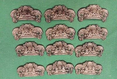 12 DRAWER PULLS EMBOSSED CAST IRON ORNATE VICTORIAN STYLE  (set B)