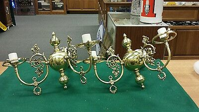 "Vintage pair fancy decorative brass wall sconces double ""candle"" electric lights"