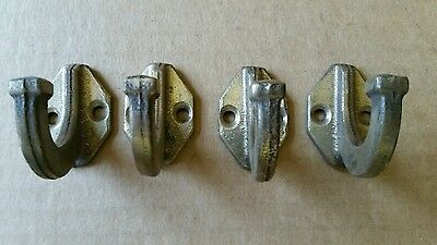 4 matching vintage Solid brass Coat hooks  Mission Style  (#322)