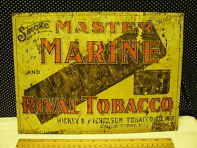 Vintage Hickey Nicholsons Master Marine Tobacco Tin Lithographed Sign Pei Canada