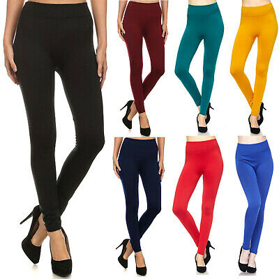 New Mix Womens FLEECE LINED LEGGINGS Thick Solid High Waist Warm Winter Long