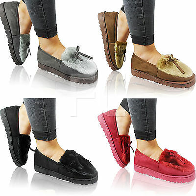 New Womens Ladies Fur Lined Hard Sole Slip On Moccasin Winter Slippers Shoe Size