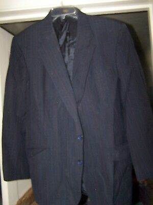 Vintage Mens Black Pinstriped Blazer By Towncraft in Excellent Condition size46R