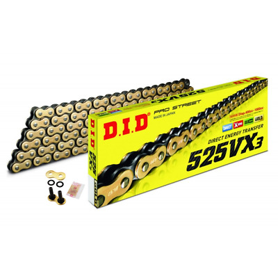 DID Gold Heavy Duty X-Ring Motorcycle Chain 525VXGB Pitch 116 Rivet Link