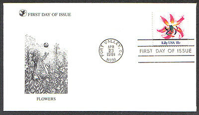 Us Fdc 1981 Flowers Lily 18C Stamp First Day Of Issue Cover Fort Valley Ga