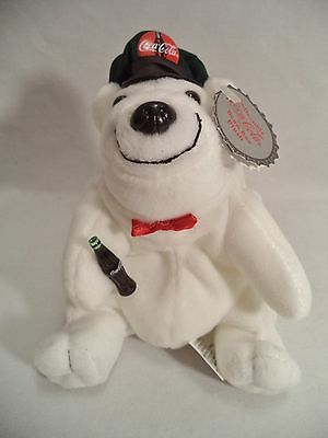 Plush Coca Cola Polar Bear Drivers Cap Bowtie Coke Bean Bag Style 140 1998