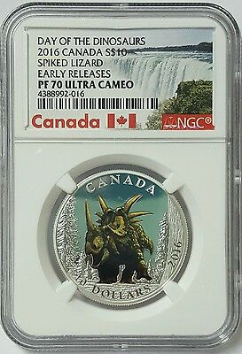 2016 Spiked Lizard NGC PF70 Canada S$10 Proof Silver Coin Early Releases