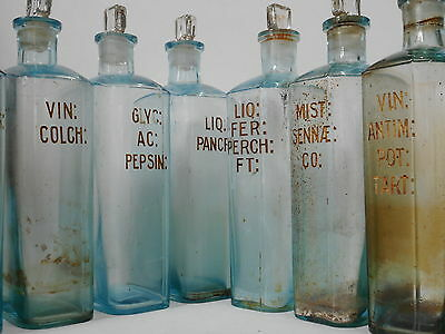 Antique Set Of Ten Pharmaceutical Apothecary Glass Jars With Engraved Labels
