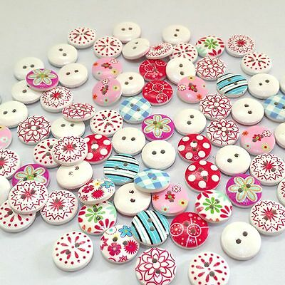 100 Pcs Mixed 2 Holes White Round Wood Buttons Sewing Scrapbooking DIY 15mm