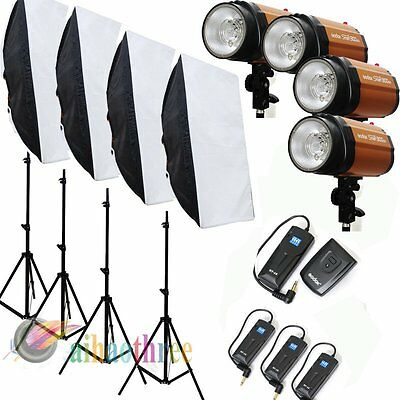 4Pcs Godox 250SDI 250W Photography Studio Strobe Flash Light Softbox Trigger Kit