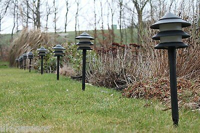 Low Energy Garden Lighting - Set of 10 Pagoda Low Voltage Pathway Lights UK Plug