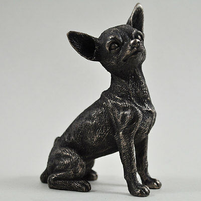 Chihuahua Dog Cold Cast Bronze Sculpture Statue Small Pet Owner Gift Decor 33807