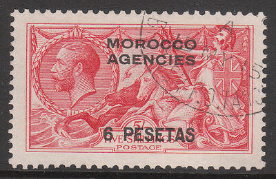 Morocco Agencies 1914 #136 Used Postmark 1915 British Po Tangier Seahorse Stamp