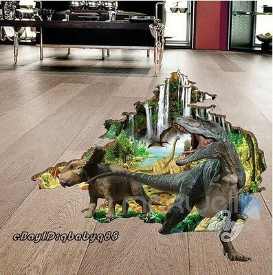 3D Dinosaurs Cracked Wall Floor Decals Removable Stickers Kids Nursery Decor Art