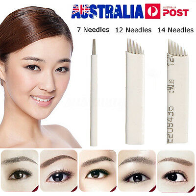 50pcs Microblading Permanent Makeup Eyebrow Manual Tattoo Blades 7/12/14 Needles