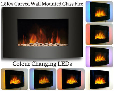 Large Curved Glass Electric Remote Control Flame Effect Fire With LED Back Light