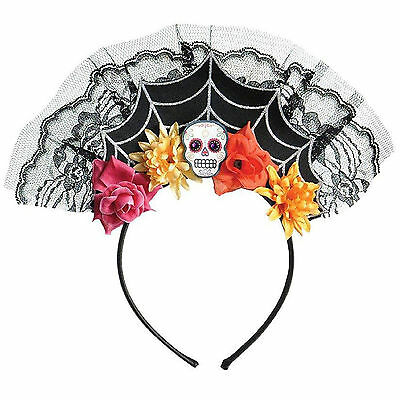 Christys Dress Up Ladies Day Of The Dead Tiara Headband Halloween Accessory
