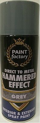 Hammered Effect Spray Paint Direct To Metal Can Grey 400Ml Bargain