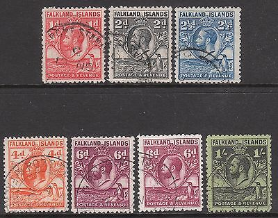 Falkland Islands 1929 1936  Used Penguin Whales Gv Stamps