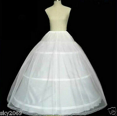 New Long White 3-Hoop Bridal wedding Petticoat/Underskirt/Slip crinoline
