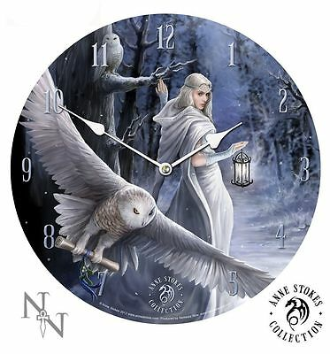 New Anne Stokes Midnight Messenger Large 34Cm Wall Clock - Gothic Magic Fantasy