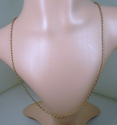 100% Genuine Vintage 9ct. Solid Yellow Gold Oval Belcher Necklace Chain 57 cm