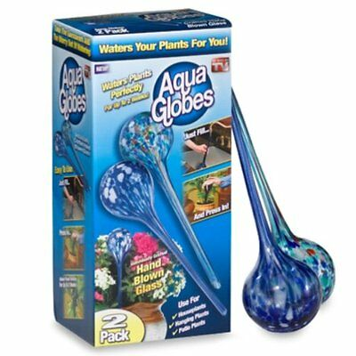 Aqua Globes 2 Pack Decorative Hand blown Glass Plant Watering Bulbs