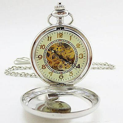 mechanical pocket watch self-winding + hand-wound wing design Silver from JAPAN