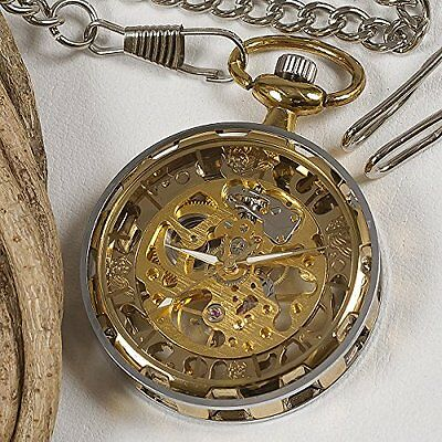 antique hand-wound mechanical pocket watch gear case Gold from JAPAN