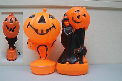 Old Vintage Halloween Plastic Blowmolds EMPIRE 2X BLACK CAT/ WITCH &CAT&PUMPKIN