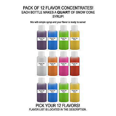 Shaved Ice Sno Cone Flavor Syrup Mix Concentrate Snow Kone Mix  ***12 PACK** 1oz