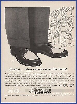 Vintage 1956 JOHNSONIAN Guide-Step Men's Shoes Endicott Fashion Print Ad 1950's