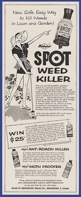 Vintage 1956 SPOT Weed Killer Bridgeport Bug Spray RARE Print Ad 1950's
