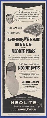 Vintage 1956 GOODYEAR NEOLITE Heels Shoes Akron OH RARE Print Ad 1950's