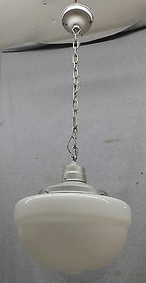 Large Antique Ceiling Light School House Bank Milk Glass Globe Old Vtg 722-16