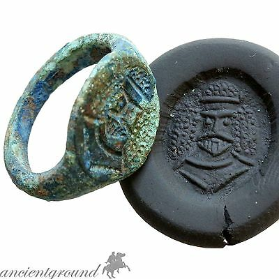 Rare Arab Sasanian Bronze Seal Ring With Emperor Bust