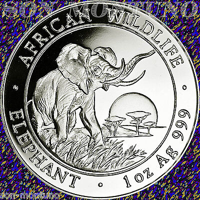 2009 SOMALIA African Wildlife ELEPHANT  1 Troy Oz .999 Silver - NOT PERFECT COIN