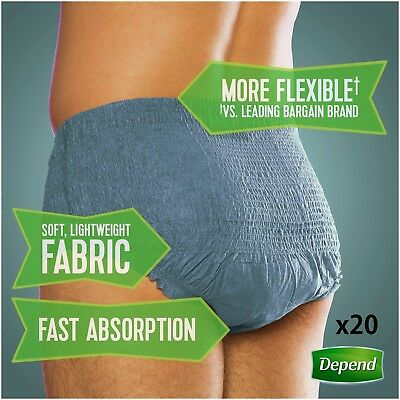 Depend For Men Absorbent Underwear Super 5x More protection S/M 10 Pants