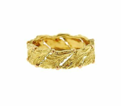Buccellati 18k Gold Leaf Motif Wedding Band Ring