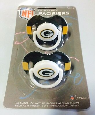 Green Bay Packers Baby Infant Pacifiers NEW - 2 Pack GREAT SHOWER GIFT