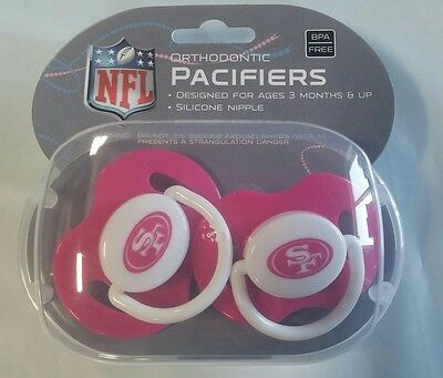San Francisco 49ers PINK Baby Infant Pacifiers NEW 2 Pack SHOWER GIFT! girls