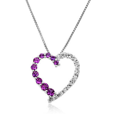 "Created Pink & White Sapphire Heart Pendant in Sterling Silver with 18"" Chain"